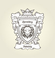 heraldic emblem - coat arms with head lion vector image vector image