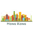 hong kong china city skyline with color buildings vector image