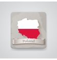 Icon of Poland map with flag vector image