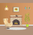 modern design of flat with brown wallpaper vector image vector image