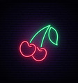 neon red cherries sign bright cherry emblem vector image vector image