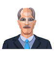 older man with mustaches wearing glasses on white vector image vector image
