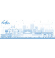 outline naples italy city skyline with blue vector image vector image