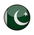 pakistan flag in glossy round button of icon vector image