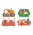 people sitting on couch set vector image vector image