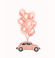 pink female car with balloons for your design vector image vector image