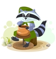 Scout raccoon makes ceramic pot vector image vector image