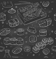 seamless pattern with sushi collection on black vector image vector image