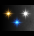 set glowing lights stars transparent effect vector image