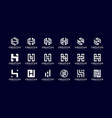 set initial h abstract logo template vector image vector image