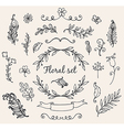 Set of hand drawn decorative floral elements vector image