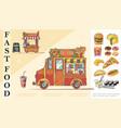 sketch fast food concept vector image vector image