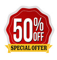 special offer 50 off label or sticker vector image vector image