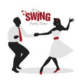 swing party time silhouettes of young couple vector image