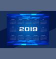 technology concept design of 2019 calendar vector image
