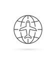 thin line worldwide travel icon vector image
