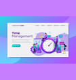 time and schedule management landing page template vector image