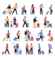 travelers at airport business tourists people vector image