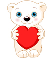 Valentine day polar bear vector image