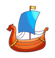 viking ship hand drawn color vector image