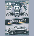 vintage colored gangster poster vector image vector image