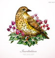 watercolor painting cute bird on flowers i vector image vector image