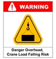 Danger overhead load sign vector image