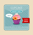 cute card pink cupcake with heart vector image