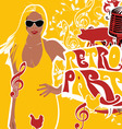 retro party girl background vector image