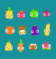 set of simple minimal flat fruit characters vector image