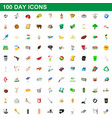 100 day icons set cartoon style vector image