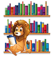 A lion reading a book while sitting on a bookshelf vector image