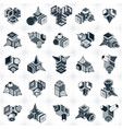 abstract three dimensional shapes set designs vector image vector image
