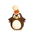 angry penguin in santa hat isolated character vector image