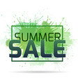 banner with watercolor splashes on a summer sale vector image vector image