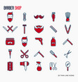 barber shop thin line icons set vector image vector image