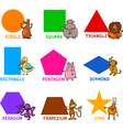Basic Geometric Shapes with Cartoon Animals vector image vector image