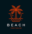 beach logo with palm tree vector image vector image