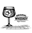 best whiskey cup drawn vector image vector image