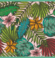 bright pattern with mess color tropical leaves vector image vector image