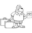 cartoon gorilla wearing shorts with suitcases vector image vector image