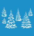 christmas fir trees contours vector image