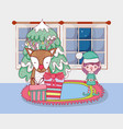 christmas santa claus with helper in the house vector image vector image