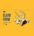 Claim form for car insurance isometric banner