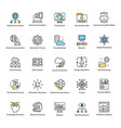 collection of data science flat icons vector image