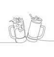 continuous line drawing two glasses bear vector image vector image