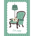 Cute dog sleeping in armchair vector image vector image