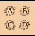 decoration letter a b c d logo design concept vector image