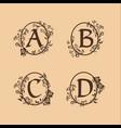 decoration letter a b c d logo design concept vector image