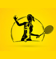double exposure tennis player sport woman action vector image vector image
